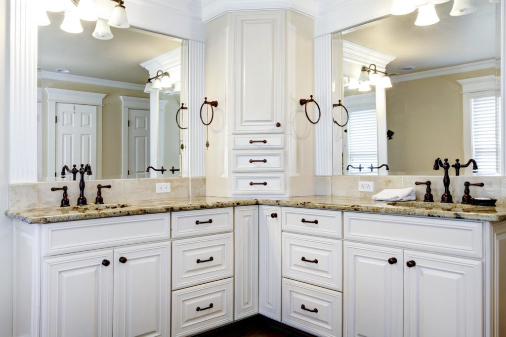 beautiful bathroom with custom cabinets