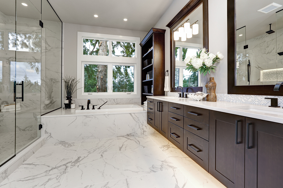 modern looking custom bath cabinets