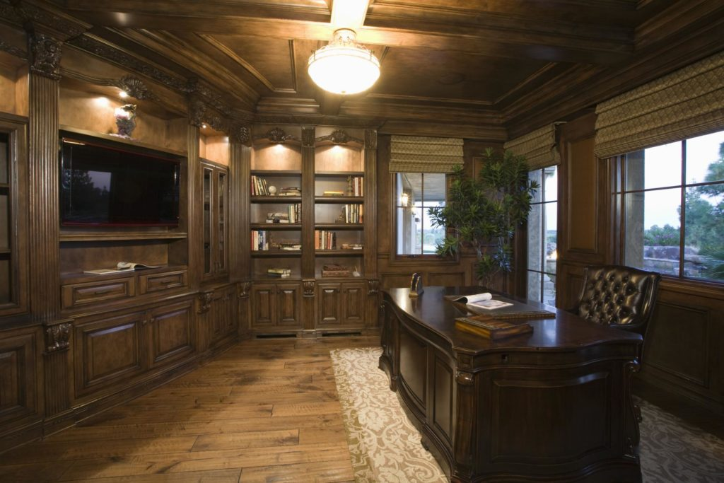 beautiful office with custom cabinets